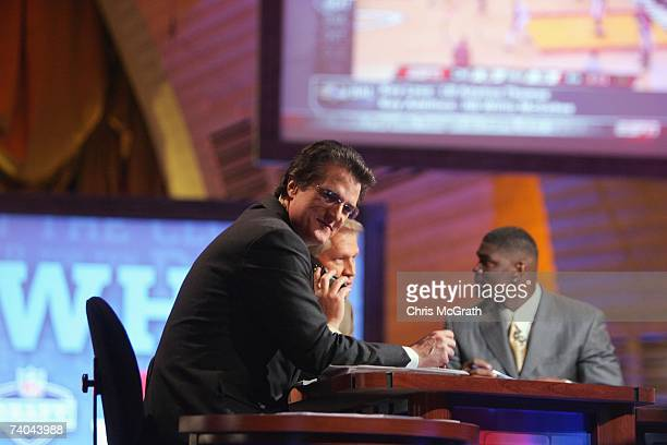 Mel Kiper Chris Mortensen and Keyshawn Johnson broadcast for ESPN during the 2007 NFL Draft on April 28 2007 at Radio City Music Hall in New York New...