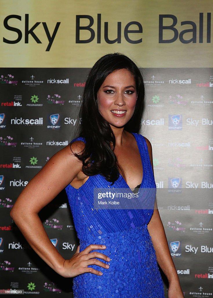 Mel McLaughlin poses at the Sydney FC Sky Blue Ball at Doltone House on April 9, 2013 in Sydney, Australia.