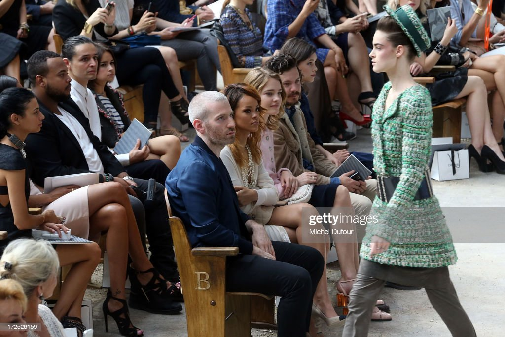 Mel Ottenberg, Rihanna and Natalia Vodianova attend the Chanel show as part of Paris Fashion Week Haute-Couture Fall/Winter 2013-2014 at Grand Palais on July 2, 2013 in Paris, France.