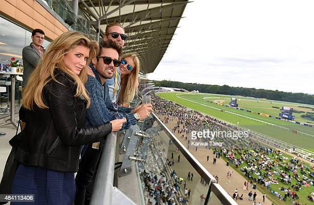 Mel Porter Max KebleWhite Spencer Matthews and Lauren FrazerHutton attend the Red Bull Air Race World Championships at Ascot Racecourse on August 15...