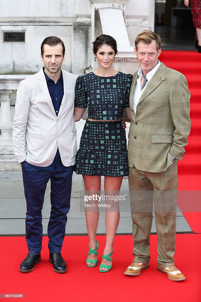 Mel Raido Gemma Arterton and Jason Flemyng attend a UK Premiere of 'Gemma Bovery' at Somerset House on August 6 2015 in London England
