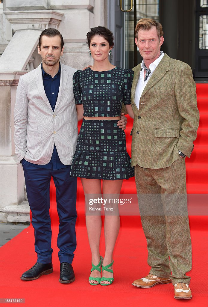 Mel Raido Gemma Arterton and Jason Flemyng attend the UK Premiere of 'Gemma Bovery' at Somerset House on August 6 2015 in London England