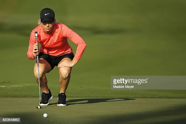 Mel Reid of England assesses a putt on the first hole during round two of the Pure Silk Bahamas LPGA Classic on January 27 2017 in Paradise Island...
