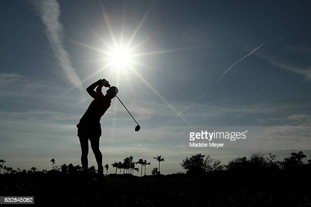Mel Reid of England hits a tee shot on the first hole during round two of the Pure Silk Bahamas LPGA Classic on January 27 2017 in Paradise Island...
