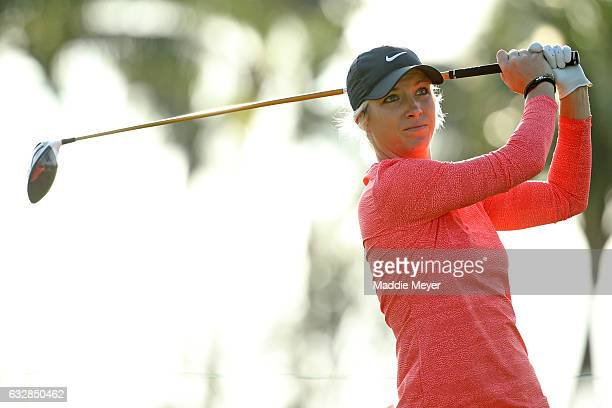 Mel Reid of England hits a tee shot on the second hole during round two of the Pure Silk Bahamas LPGA Classic on January 27 2017 in Paradise Island...