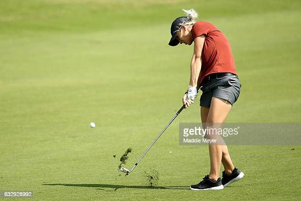 Mel Reid of England hits her second shot on the fourth hole during round three of the Pure Silk Bahamas LPGA Classic on January 28 2017 in Paradise...