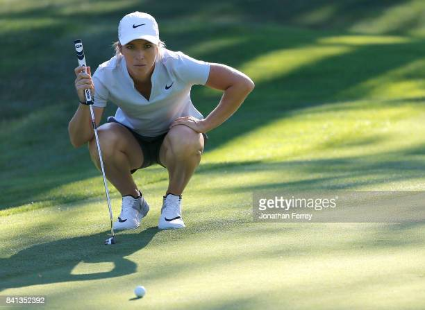 Mel Reid of England lines up a putt on the 13th hole during the first round of the LPGA Cambia Portland Classic at Columbia Edgewater Country Club on...