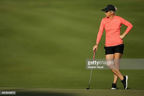 Mel Reid of England looks on from the first hole during round two of the Pure Silk Bahamas LPGA Classic on January 27 2017 in Paradise Island Bahamas