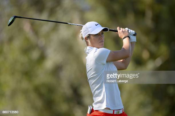 Mel Reid of England makes a tee shot on the sixth hole during round one of the ANA Inspiration on the Dinah Shore Tournament Course at Mission Hills...