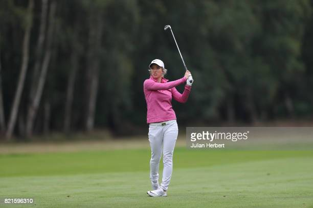 Mel Reid of England plays a shot during The Berenberg Gary Player Invitational 2017 at Wentworth Club on July 24 2017 in London England