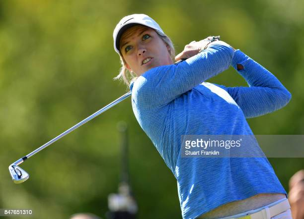 Mel Reid of England plays a shot during the weather delayed first round of The Evina Championship at Evian Resort Golf Club on September 15 2017 in...