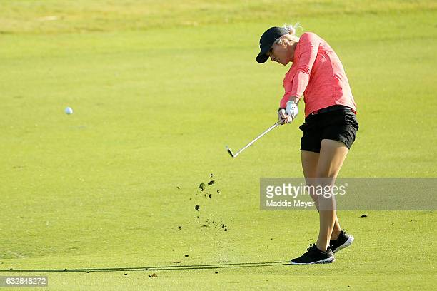 Mel Reid of England plays a shot on the second hole during round two of the Pure Silk Bahamas LPGA Classic on January 27 2017 in Paradise Island...