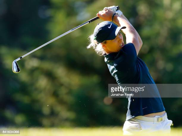 Mel Reid of England tees off on the 13th during the second round of the LPGA Cambia Portland Classic at Columbia Edgewater Country Club on September...
