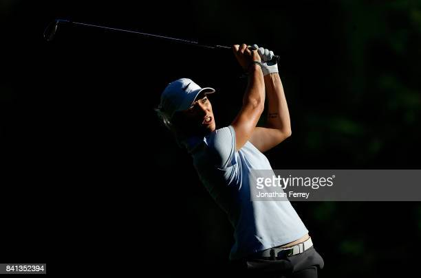 Mel Reid of England tees off on the 13th hole during the first round of the LPGA Cambia Portland Classic at Columbia Edgewater Country Club on August...