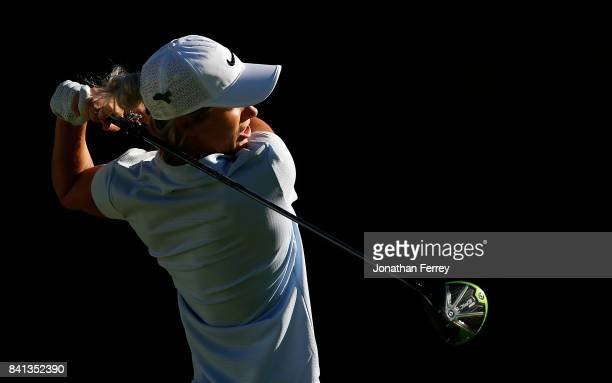 Mel Reid of England tees off on the 14th hole during the first round of the LPGA Cambia Portland Classic at Columbia Edgewater Country Club on August...