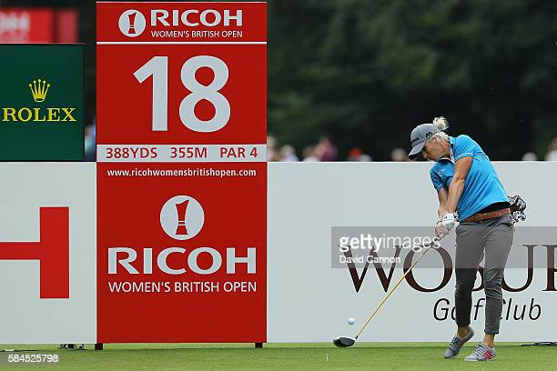 Mel Reid of England tees off on the 18th hole during the second round of the Ricoh Women's British Open at Woburn Golf Club on July 29 2016 in Woburn...