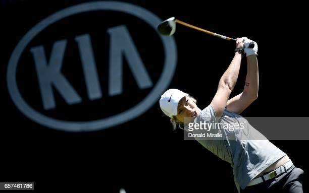 Mel Reid of England tees off the 1st hole during the 2nd Round of the KIA Classic at the Park Hyatt Aviara Resort on March 24 2017 in Carlsbad...