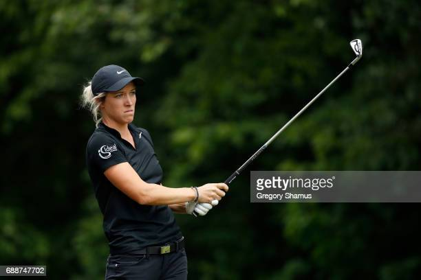 Mel Reid of England watches her tee shot on the seventh during the second round of the LPGA Volvik Championship on May 26 2017 at Travis Pointe...