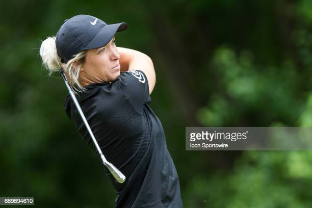 Mel Reid of England watches her tee shot on the seventh hole during the second round of the LPGA Volvik Championship on May 26 2017 at Travis Pointe...