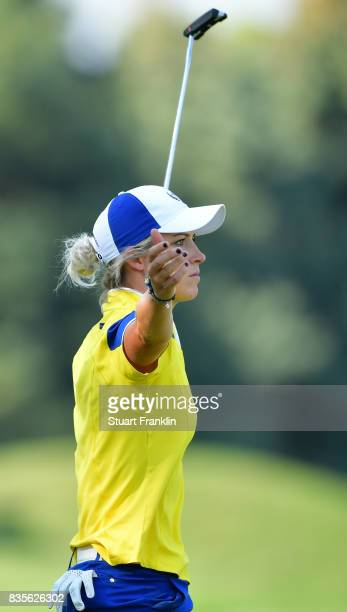 Mel Reid of Team Europe celebrates during the second day afternoon fourball matches of The Solheim Cup at Des Moines Golf and Country Club on August...