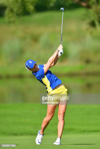 Mel Reid of Team Europe plays a shot during the final day singles matches of The Solheim Cup at Des Moines Golf and Country Club on August 20 2017 in...