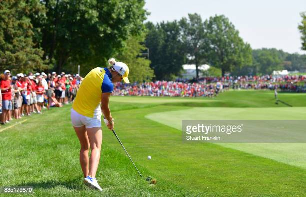Mel Reid of Team Europe plays a shot during the morning foursomes matches of The Solheim Cup at Des Moines Golf and Country Club on August 18 2017 in...