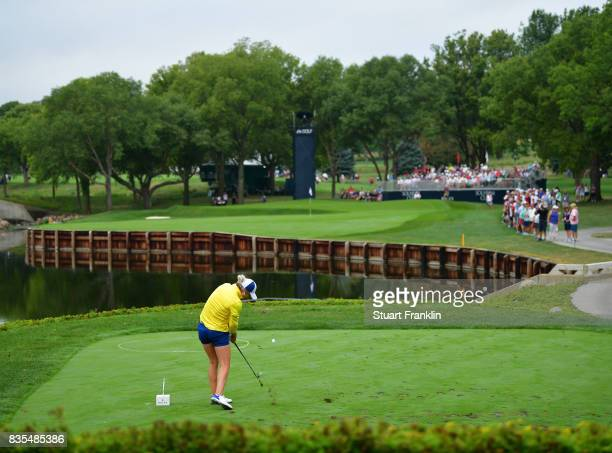 Mel Reid of Team Europe plays a shot during the second day morning foursomes matches of The Solheim Cup at Des Moines Golf and Country Club on August...
