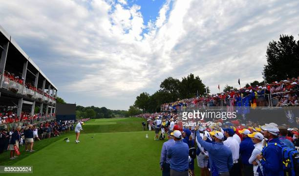 Mel Reid of Team Europe plays the opening tee shot during the morning foursomes matches of The Solheim Cup at Des Moines Golf and Country Club on...