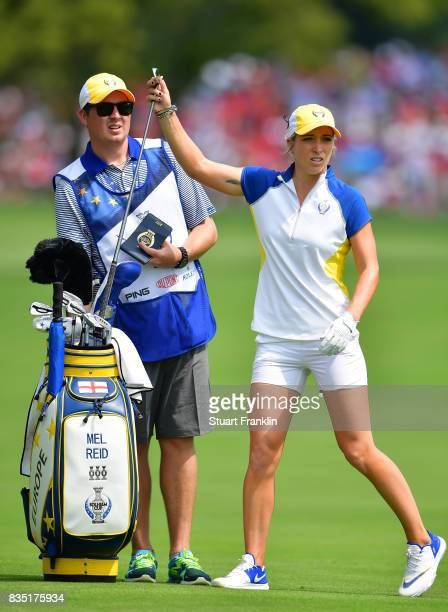Mel Reid of Team Europe ponders a shot during the morning foursomes matches of The Solheim Cup at Des Moines Golf and Country Club on August 18 2017...
