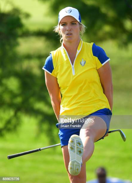 Mel Reid of Team Europe reacts during the second day afternoon fourball matches of The Solheim Cup at Des Moines Golf and Country Club on August 19...
