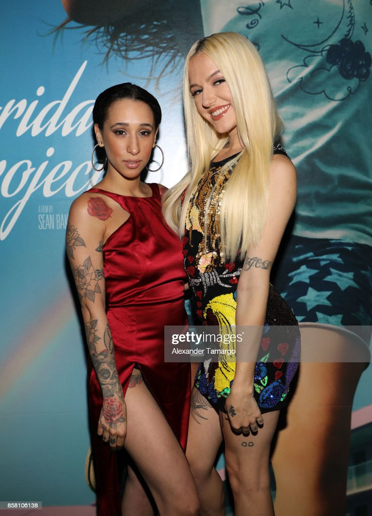 Mela Murder and Bria Vinaite are seen at the Tower Theater during 'THE FLORIDA PROJECT' Miami Premiere on October 5, 2017 in Miami, Florida.