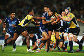 Melani Nanai of the Blues charges forward during the round nine Super Rugby match between the Blues and the Brumbies at Eden Park on April 10 2015 in...