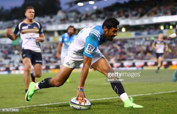 Melani Nanai of the Blues crosses the line to score during the round 10 Super Rugby match between the Brumbies and the Blues at GIO Stadium on April...