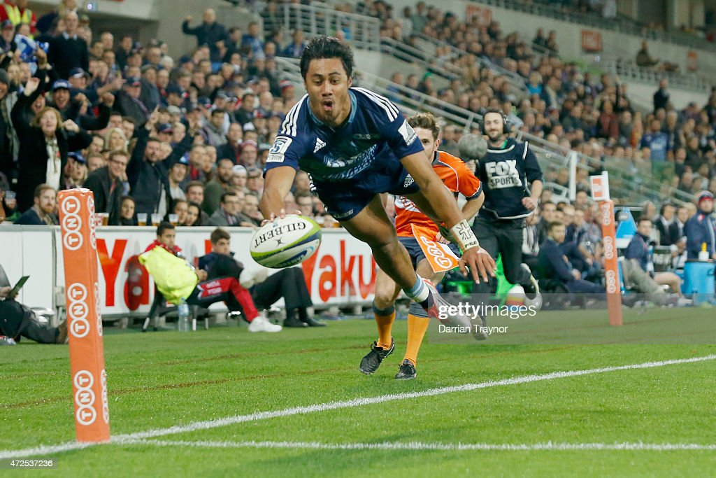Melani Nanai of the Blues dives in for a try during the round 13 Super Rugby match between the Rebels and the Blues at AAMI Park on May 8 2015 in...