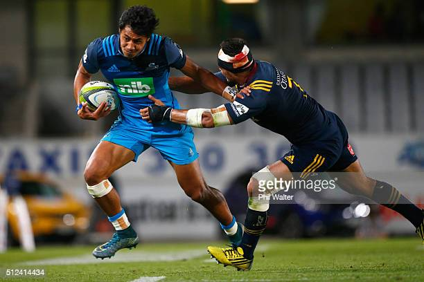 Melani Nanai of the Blues is tackled during the round one Super Rugby match between the Blues and the Highlanders at Eden Park on February 26 2016 in...
