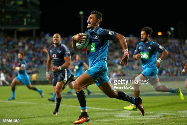 Melani Nanai of the Blues races away for a try during the round five Super Rugby match between the Blues and the Bulls at Eden Park on March 25 2017...