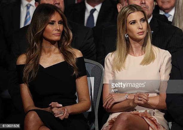 Melania and Ivanka Trump are seen during the first presidential debate at Hofstra University in Hempstead New York on September 26 2016 Hillary...