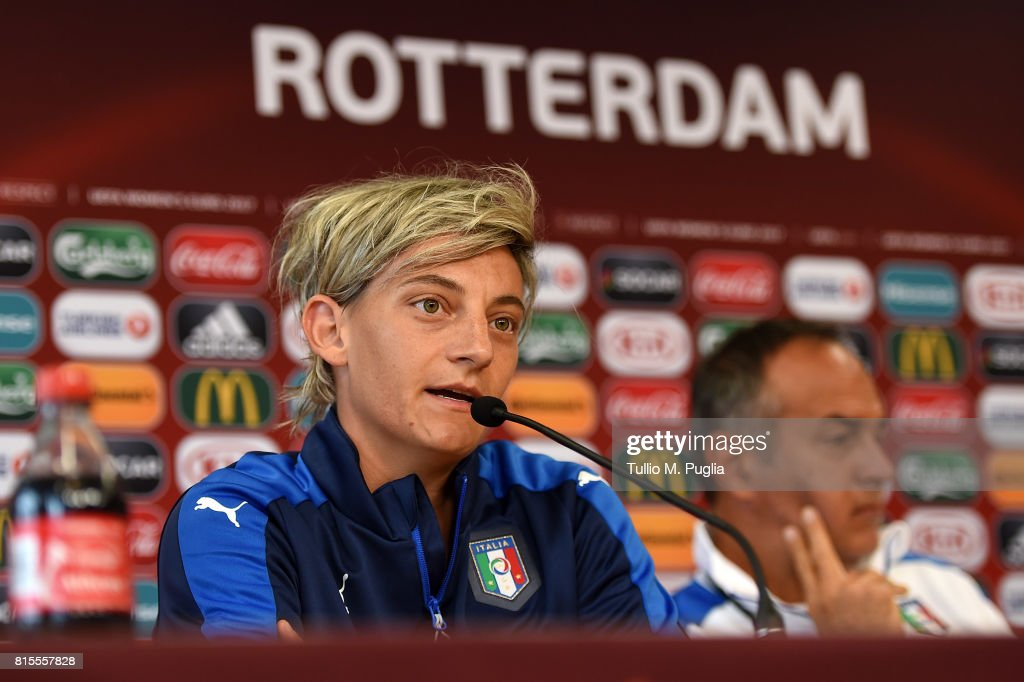 Melania Gabbiadini and Head Coach Antonio Cabrini of Italy women's national team answer questions during a press conference during the UEFA Women's EURO 2017at Sparta Stadion Het Kasteel on July 16, 2017 in Rotterdam, Netherlands.