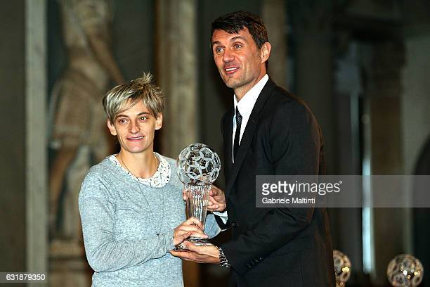 Melania Gabbiadini Italian footballer dell'AGSM Verona and the Italian National Womans and Paolo Maldini during the Italian Football Federation Hall...