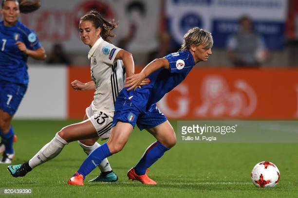 Melania Gabbiadini of Italy holds off the challenge from Sara Dabritz of Germany during the UEFA Women's Euro 2017 Group B match between Germany and...