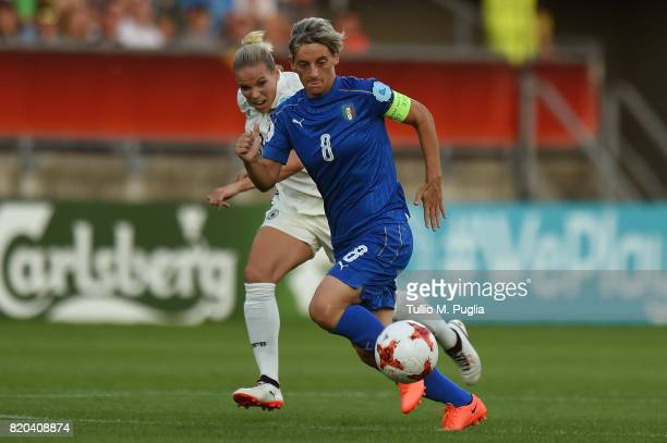 Melania Gabbiadini of Italy in action during the UEFA Women's Euro 2017 Group B match between Germany and Italy at Koning Willem II Stadium on July...