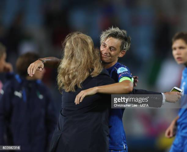 Melania Gabbiadini of Italy is hugged by a team member during the UEFA Women's Euro 2017 Group B match between Sweden and Italy at Stadion De...