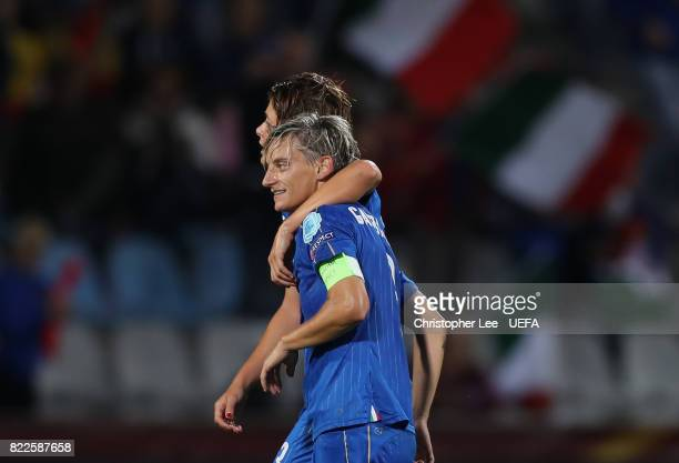 Melania Gabbiadini of Italy is hugged by Cristiana Girelli of Italy after the final whistle during the UEFA Women's Euro 2017 Group B match between...