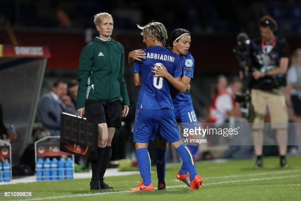 Melania Gabbiadini of Italy Women Daniela Sabatino of Italy Women during the UEFA WEURO 2017 Group B group stage match between Germany and Italy at...