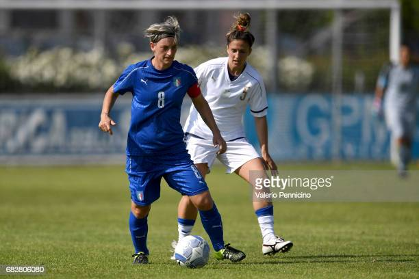 Melania Gabbiadini of Italy Women is challenged by Raffaela Emma Errico of Italy U23 Women during the friendly match between Italy Women and Italy...