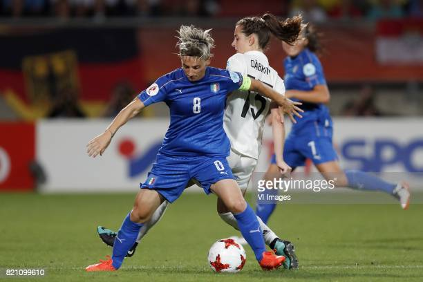 Melania Gabbiadini of Italy Women Sara Dabritz of Germany women during the UEFA WEURO 2017 Group B group stage match between Germany and Italy at...