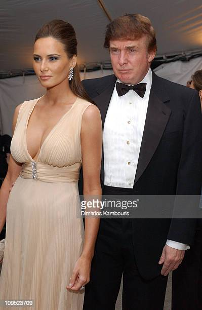 Melania Knauss and Donald Trump during Costume Institute Benefit Dance 'Party of the Year' Arrivals at Metropolitan Museum of Art in New York City...