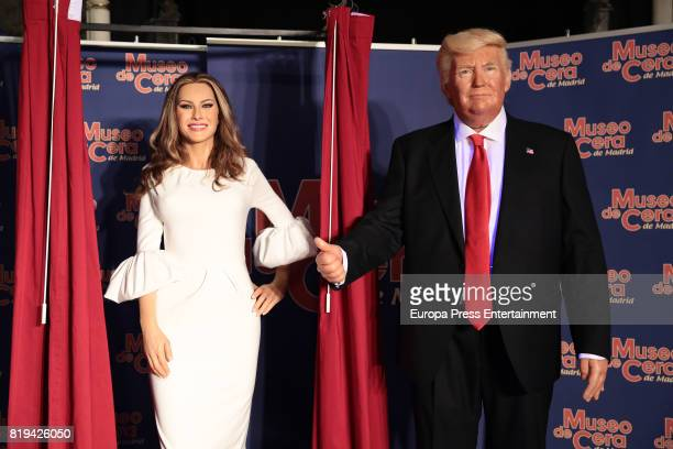 Melania Trump and Donald Trump wax figures are displayed at the Wax Museum on July 20 2017 in Madrid Spain