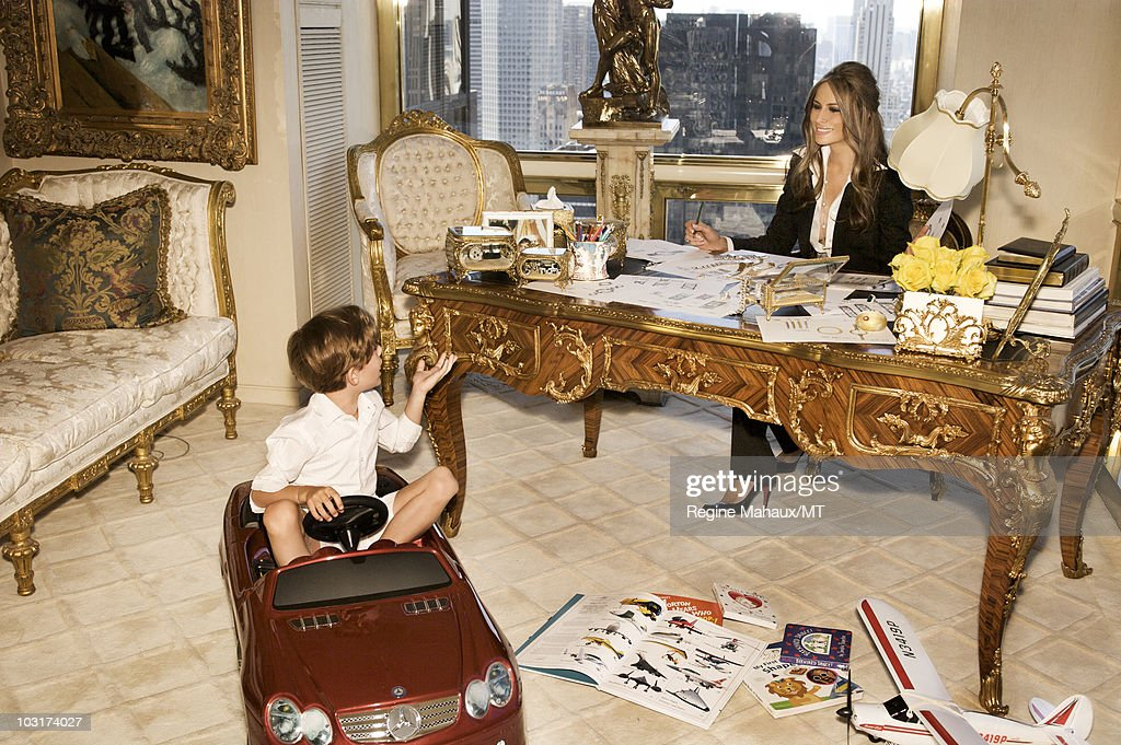 melania donald and barron trump at home shoot getty images