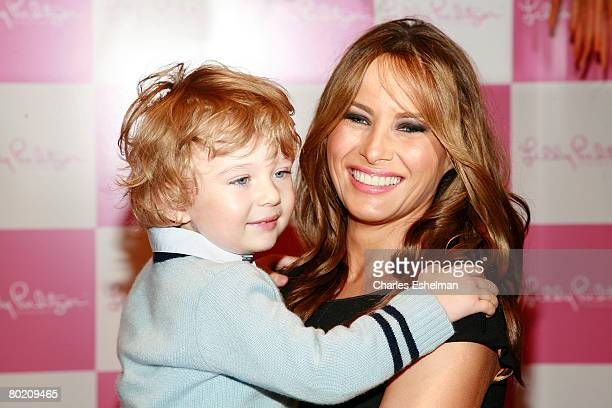 Melania Trump and son Barron attend the 17th Annual Bunny Hop at FAO Schwarz on March 11 2008 in New York City